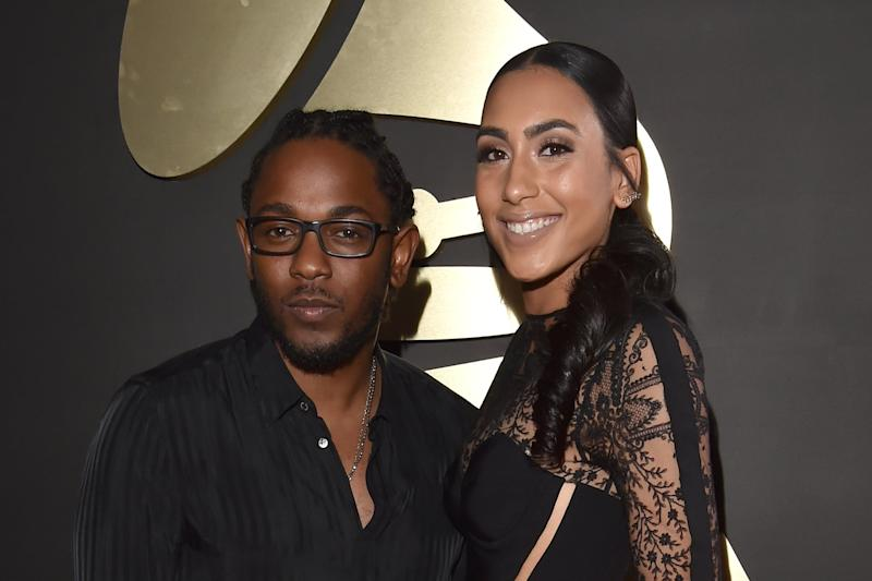 LOS ANGELES, CA - FEBRUARY 15: Recording artist Kendrick Lamar and Whitney Alford attends The 58th GRAMMY Awards at Staples Center on February 15, 2016 in Los Angeles, California. (Photo by Lester Cohen/WireImage)