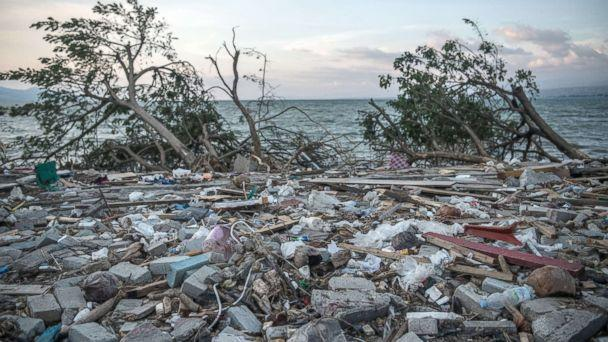 PHOTO: Debris and uprooted trees lie on the beach following a tsunami, Oct. 1, 2018, in Palu, Indonesia. (Carl Court/Getty Images)