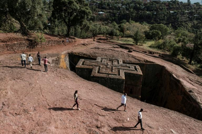 The church of St. George is one of the rock-hewn treasures of Lalibela, a UNESCO World Heritage Site