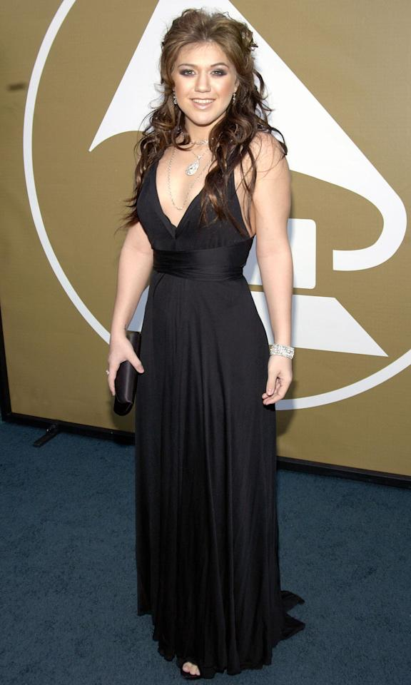 Fresh off of her <em>American Idol </em>win, Clarkson wore a black gown to the Grammys in 2004.