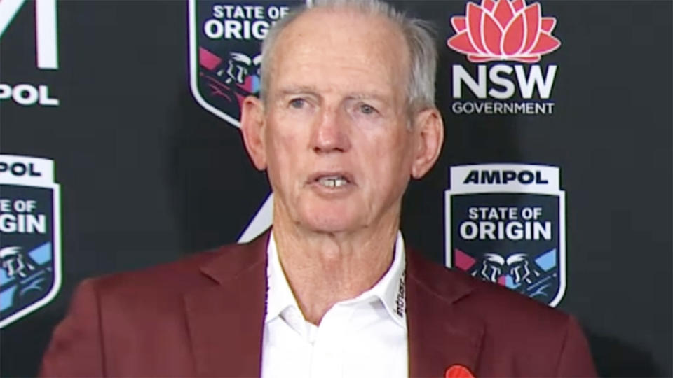 Wayne Bennett, pictured here speaking to the media after Queensland's loss in State of Origin II.