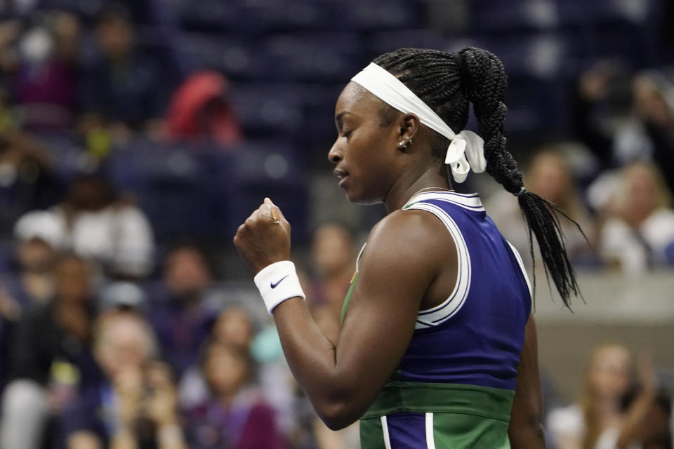 Sloane Stephens, of the United States, reacts to winning a point against Coco Gauff, of the United States, during the second round of the US Open tennis championships, Wednesday, Sept. 1, 2021, in New York. (AP Photo/John Minchillo)