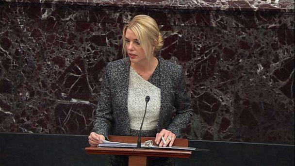 PHOTO: White House adviser Pam Bondi presents her opening argument on day 6 of the impeachment trial of President Donald Trump, Jan. 27, 2020, at the Capitol. (ABC News)