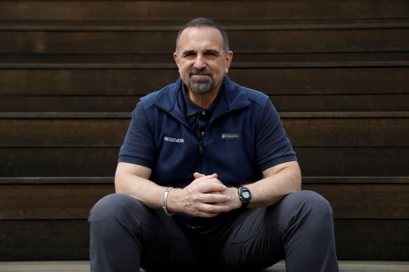 FILE PHOTO: George Yancopoulos, Regeneron Pharmaceuticals Co-Founder, President and Chief Scientific Officer, poses for a photograph on the company's Westchester campus in Tarrytown, New York