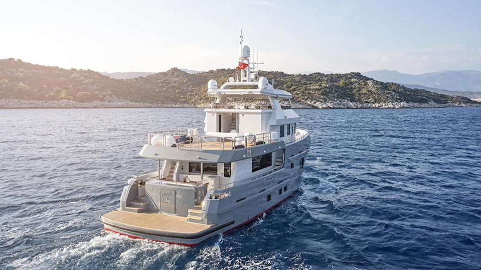 The pocket explorer can cruise 22 days nonstop and cover 4,000 nautical miles. - Credit: Bering Yachts