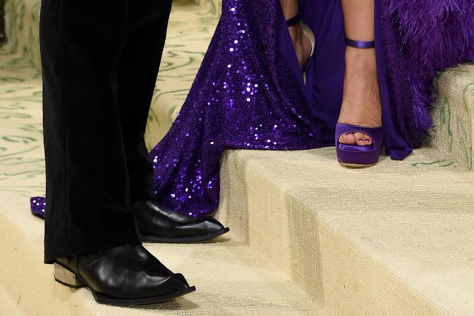 A closer view of Shawn Mendes and Camila Cabello's shoes. - Credit: AP