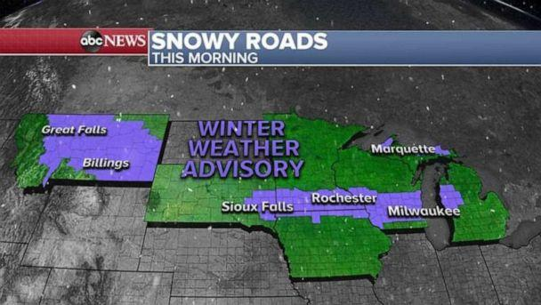 PHOTO: 6 states this morning are under a Winter Weather Advisory for slick roads due to snow and freezing temperatures. (ABC News)