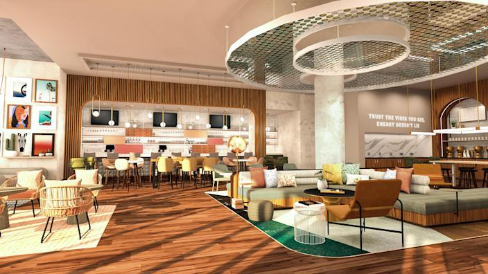 "Roll out the design plans for Hilton's newest brand's lobby, and a neon sign blares ""Trust the vibes you get, energy doesn't lie."" Renderings of Tempo by Hilton."