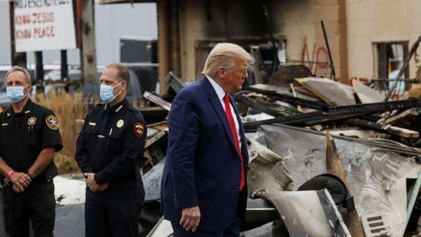 PHOTO: President Donald Trump views property damage during a visit in the aftermath of recent protests against police brutality and racial injustice in Kenosha, Wisconsin, Sept. 1, 2020. (Leah Millis/Reuters)