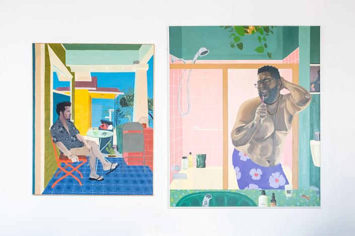 """Corey Pemberton, """"Day drinks in East LA"""" 2020 (left) and """"Please hold your applause"""" 2021 (right)"""