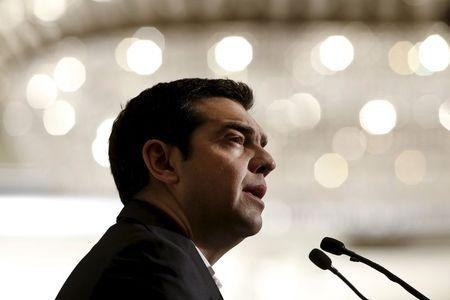 """Greek Prime Minister Alexis Tsipras delivers a speech during the Economist Conference on """"Europe: The comeback, Greece: How resilient?"""" in Athens May 15, 2015. REUTERS/Alkis Konstantinidis"""