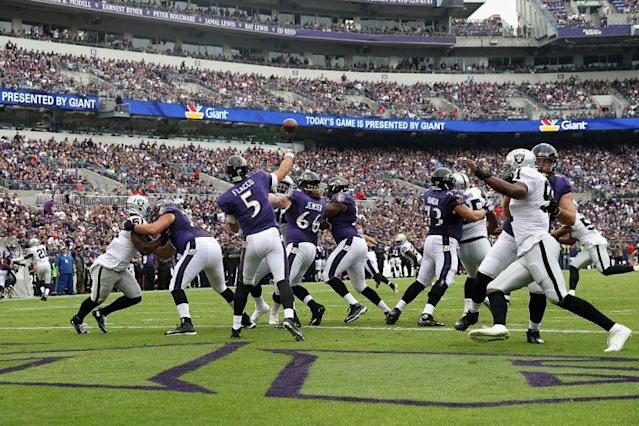 The Ravens will play the Raiders at the end of a brutal three-game series. (Getty)
