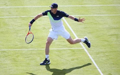 Andy Murray on the grass at Queen's, where he is set to return from injury this month - Credit: Steve Bardens/Getty