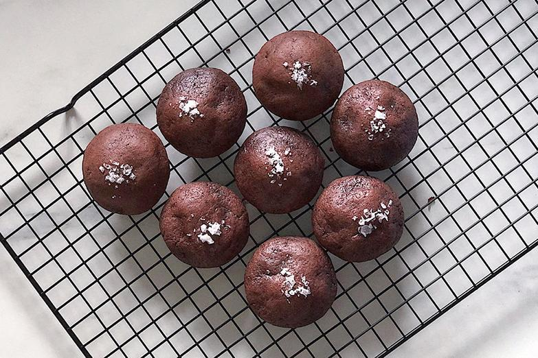 Goh's chocolate cookies are of the soft variety, with a dusting of salt flakes on top.
