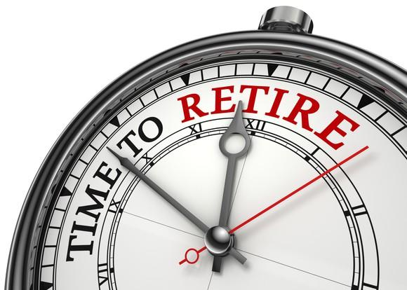 """A clock face with the words """"time to retire"""" on it and the hands pointing to or approaching the word """"retire"""""""
