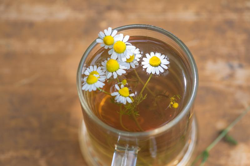 Chamomile Tea on a Wooden Table