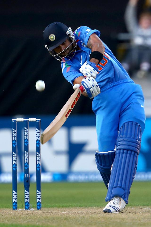 WELLINGTON, NEW ZEALAND - JANUARY 31:  Virat Kohli of India bats during Game 5 of the men's one day international between New Zealand and India at Westpac Stadium on January 31, 2014 in Wellington, New Zealand.  (Photo by Phil Walter/Getty Images)