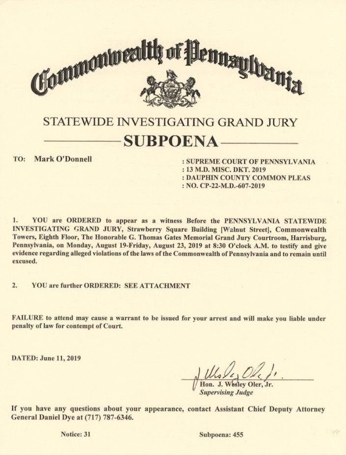 A copy of the subpoena Mark O'Donnell said he received from the statewide investigating grand jury.