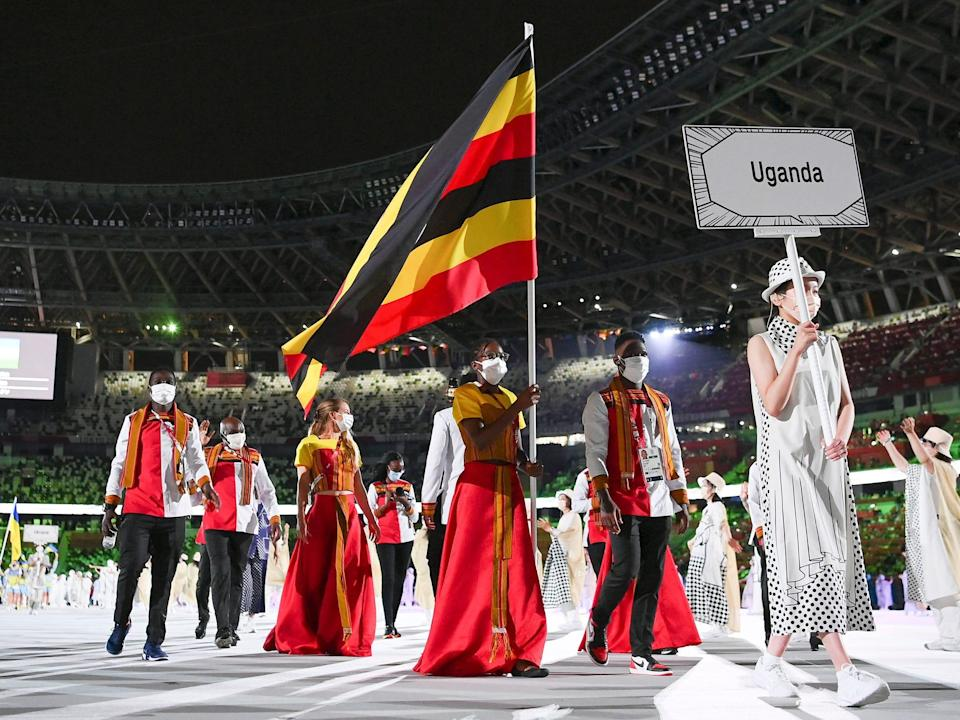 Athletes from Uganda make their entrance at the Summer Olympics.