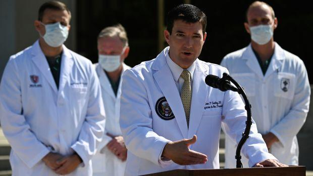 photo of White House physician Sean Conley at press conference on Trump's health