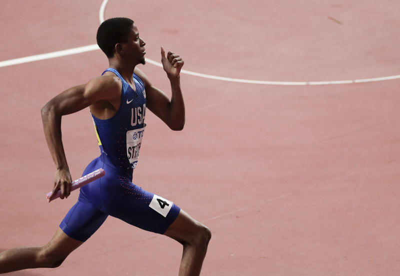 Nathan Strother of the United States races in a men's 4x400 meter relay heat at the World Athletics Championships in Doha, Qatar, Saturday, Oct. 5, 2019. (AP Photo/Nariman El-Mofty)