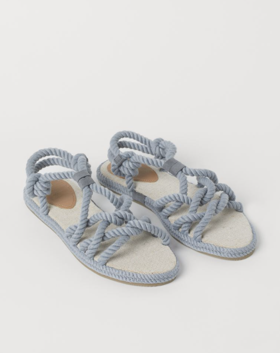 Twisted Rope Sandals in Light Gray-Blue (Photo via H&M)