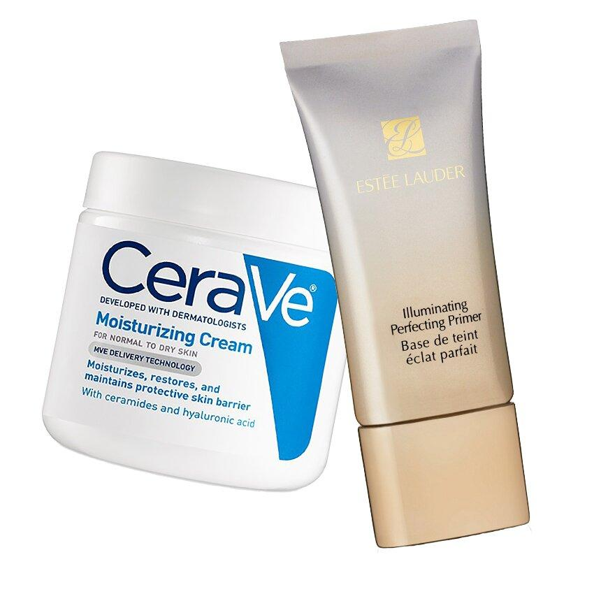 "<p>Great makeup begins with great skincare. Prep your skin with a tandem slathering of moisturizer and primer. The duo will ensure a flawless base that keeps makeup in place all day.</p> <p>CeraVe Moisturizer, $10; <a href=""https://goto.target.com/c/249354/81938/2092?subId1=ISmakeupbag&u=https%3A%2F%2Fwww.target.com%2Fp%2Fcerave-moisturizing-lotion-12-oz%2F-%2FA-13977969"" target=""_blank"">target.com</a>. Estee Lauder Illuminating Perfecting Primer, $36; <a href=""https://click.linksynergy.com/deeplink?id=93xLBvPhAeE&mid=1237&murl=https%3A%2F%2Fshop.nordstrom.com%2Fs%2Festee-lauder-the-illuminator-radiant-perfecting-primer-finisher%2F4541870&u1=IS%2CScrolleryeachslideshouldbeatwoupofthebelowproducts%2Cdejesusc%2C%2CIMA%2C1159331%2C201811%2CI"" target=""_blank"">sephora.com</a>.</p>"