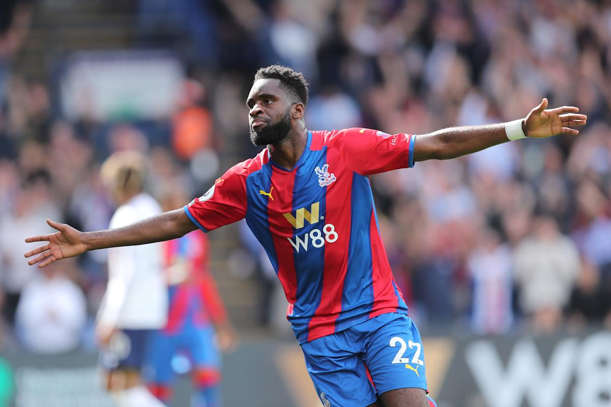 Odsonne Edouard of Crystal Palace celebrates after scoring their side's third goal.