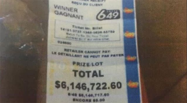 Mr Thibeault didn't tell his partner about the almost $6.2 million win. Source: CBC
