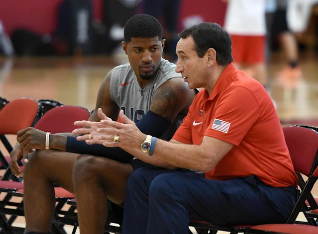 Paul George was encouraged by coach Mike Krzyzewski to return to Team USA. (Getty Images)
