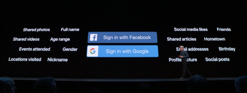 Craig Federighi displaying Facebook and Google sign-in options