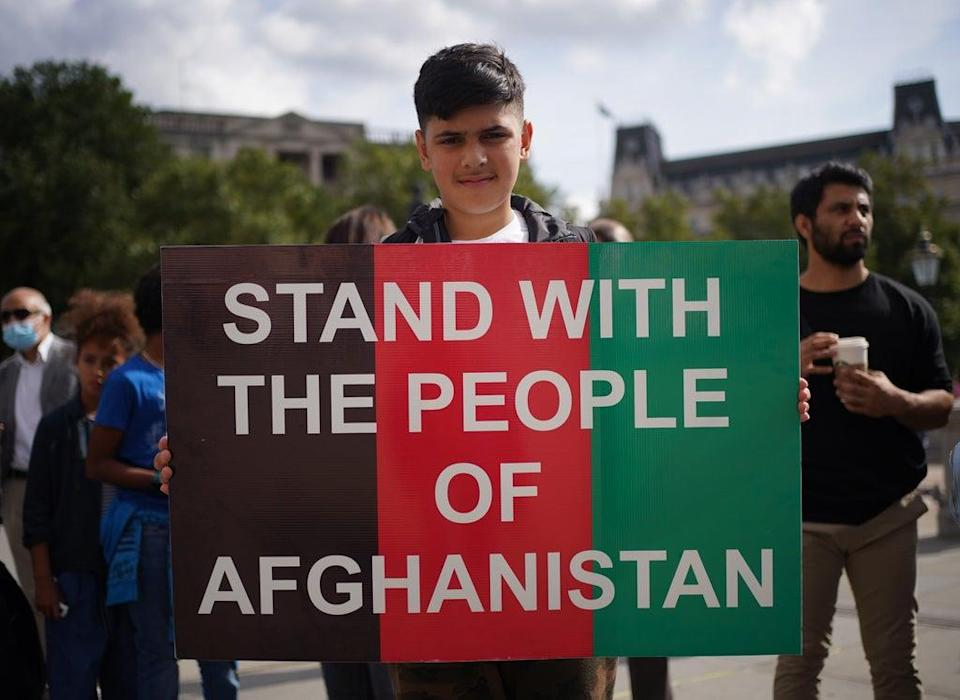 People at an Afghan solidarity rally in Trafalgar Square, London, to oppose the Taliban and show that Britain stands with Afghanistan and supports the resistance to the Taliban. (Yui Mok/PA) (PA Wire)