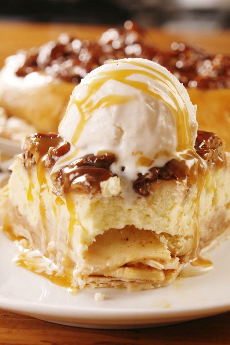 """<p>Basically three desserts in one. </p><p>Get the recipe from <a href=""""https://www.delish.com/holiday-recipes/thanksgiving/a25015806/upside-down-cheesecake-apple-pie-recipe/"""" rel=""""nofollow noopener"""" target=""""_blank"""" data-ylk=""""slk:Delish"""" class=""""link rapid-noclick-resp"""">Delish</a>. </p>"""