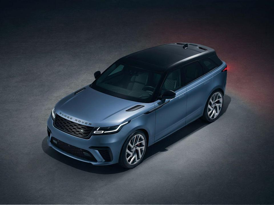 """<p>The <a href=""""https://www.caranddriver.com/land-rover/range-rover-velar"""" rel=""""nofollow noopener"""" target=""""_blank"""" data-ylk=""""slk:Land Rover Range Rover Velar"""" class=""""link rapid-noclick-resp"""">Land Rover Range Rover Velar</a> SVAutobiography Dynamic Edition not only features the longest name on this list, it gets the same supercharged V-8 and eight-speed automatic transmission as the larger Range Rover SVAutobiography Dynamic and its chassis mate, the Jaguar F-type SVR. In the hot-rod version of the Velar, the quad-cam 5.0-liter is rated 550 horsepower and 502 lb-ft of torque and thunders through a variable active exhaust system. In our testing, this <a href=""""https://www.caranddriver.com/reviews/a27953980/2020-range-rover-velar-sv-autobiography-dynamic-drive/"""" rel=""""nofollow noopener"""" target=""""_blank"""" data-ylk=""""slk:Velar can hit 60 mph in 3.8 seconds"""" class=""""link rapid-noclick-resp"""">Velar can hit 60 mph in 3.8 seconds</a>. Jaguar claims a top speed of 170 mph.<br></p><p><a class=""""link rapid-noclick-resp"""" href=""""https://www.caranddriver.com/land-rover/range-rover-velar"""" rel=""""nofollow noopener"""" target=""""_blank"""" data-ylk=""""slk:MORE RANGE ROVER VELAR SPECS"""">MORE RANGE ROVER VELAR SPECS</a></p>"""