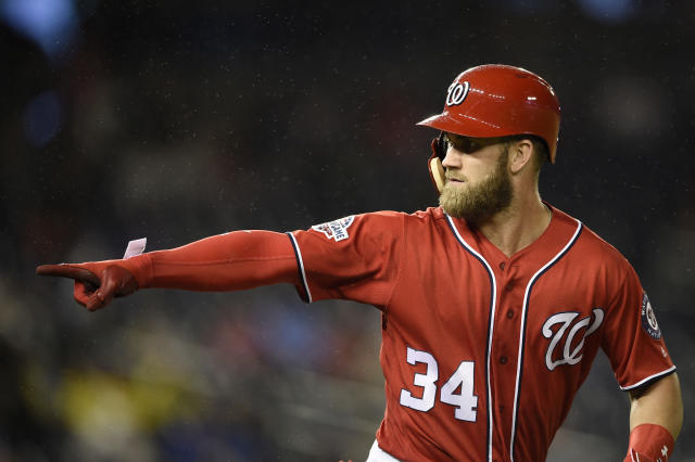 """Bryce Harper says he'd """"absolutely love"""" to re-sign with the Nationals. (AP)"""