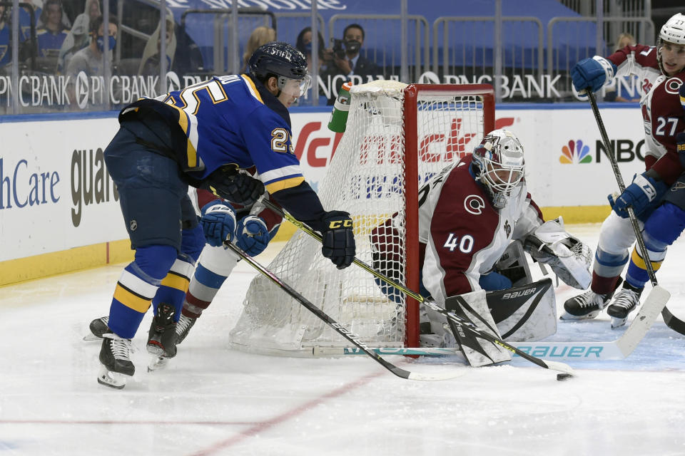 Colorado Avalanche's Devan Dubnyk (40) defends the net against St. Louis Blues' Jordan Kyrou (25) during the second period of an NHL hockey game on Wednesday, April 14, 2021, in St. Louis. (AP Photo/Joe Puetz)