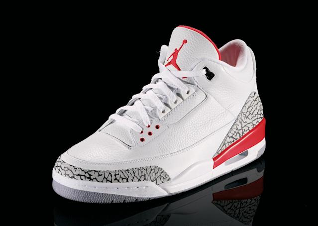 "<p>Air Jordan III - ""Gotta Be The Shoes"" (1988): This was the shoe that sparked Mars Blackmon (played by Spike Lee) to declare, ""It's gotta be the shoes."" Jordan won his first MVP award wearing these shoes. (Photo Courtesy of Nike)</p>"