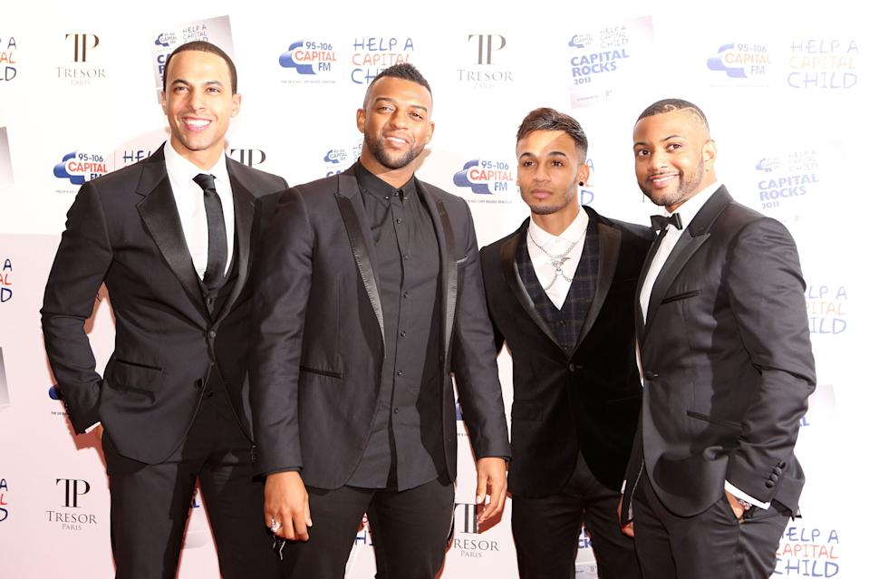 JB Gill, Marvin Humes, Aston Merrygold, Oritse Williams of JLS attend Capital Rocks held at The Roundhouse, Camden, London.