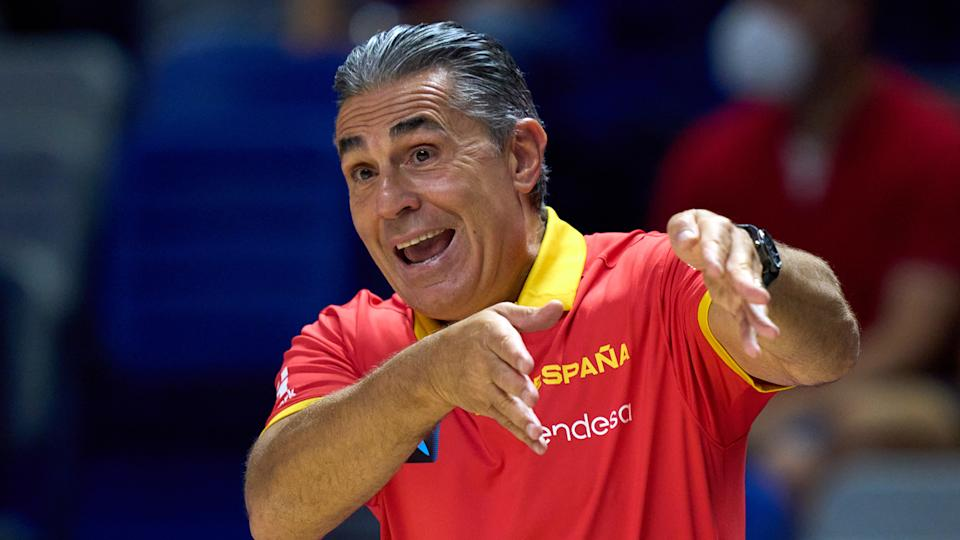 Spanish head coach Sergio Scariolo gestures to the referees. (Photo by Angel Martinez/Getty Images)