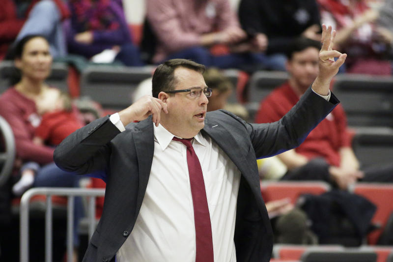 Stanford head coach Jerod Haase signals his players during the second half of an NCAA college basketball game against Washington State in Pullman, Wash., Sunday, Feb. 23, 2020. Stanford won 75-57. (AP Photo/Young Kwak)