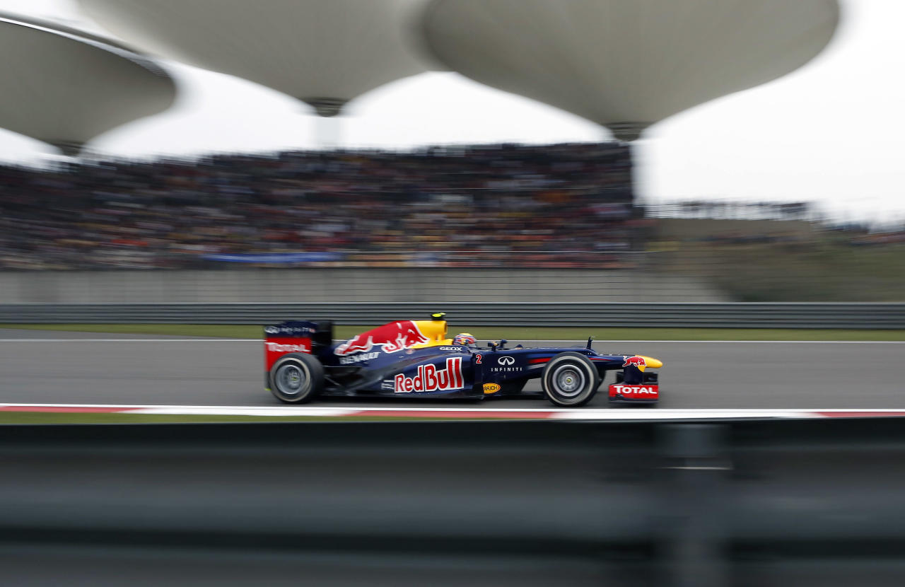 SHANGHAI, CHINA - APRIL 15: Mark Webber of Australia and Red Bull Racing drives during the Chinese Formula One Grand Prix at Shanghai International Circuit on April 15, 2012 in Shanghai, China.  (Photo by Gu Zhichao/Sports Illustrated China/Getty Images)