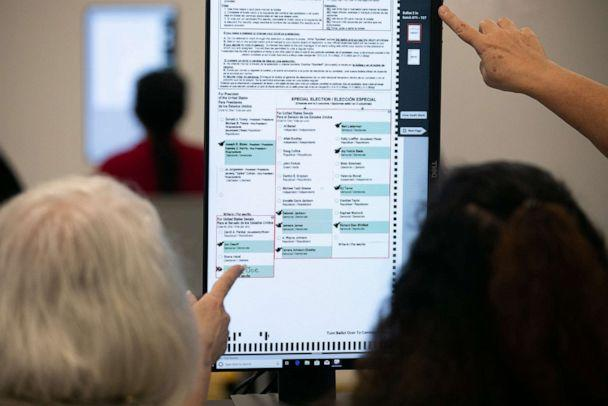 PHOTO: Members of the Gwinnett County adjudication review panel look over remaining scanned ballots at the Gwinnett Voter Registrations and Elections office on Nov. 8, 2020, in Lawrenceville, Ga. (Jessica Mcgowan/Getty Images)
