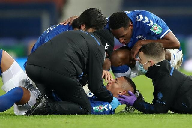 Richarlison receives treatment for a head injury
