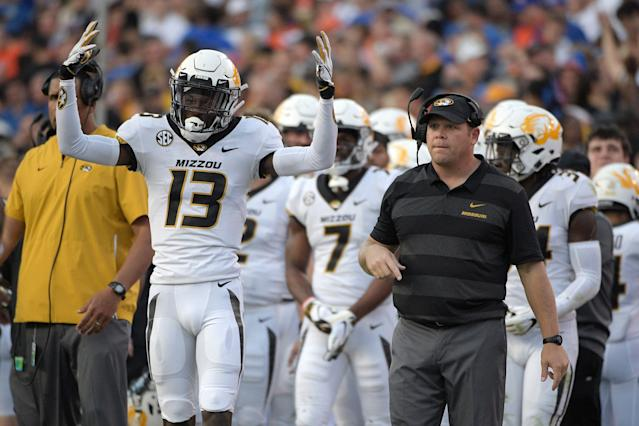 Missouri is facing a postseason ban for the 2019-20 football season. (AP Photo/Phelan M. Ebenhack)