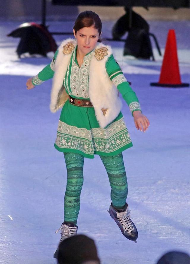<p>The <em>Pitch Perfect</em> star glided like a pro, as she filmed an ice skating scene in Vancouver, BC on Monday. Kendrick is currently in Canada on set of the new feature movie <em>Nicole, </em>which revolves around Santa Claus's daughter, who is forced to take over the family business when her father retires. (Photo: CYVR/ BACKGRID)<br><br></p>