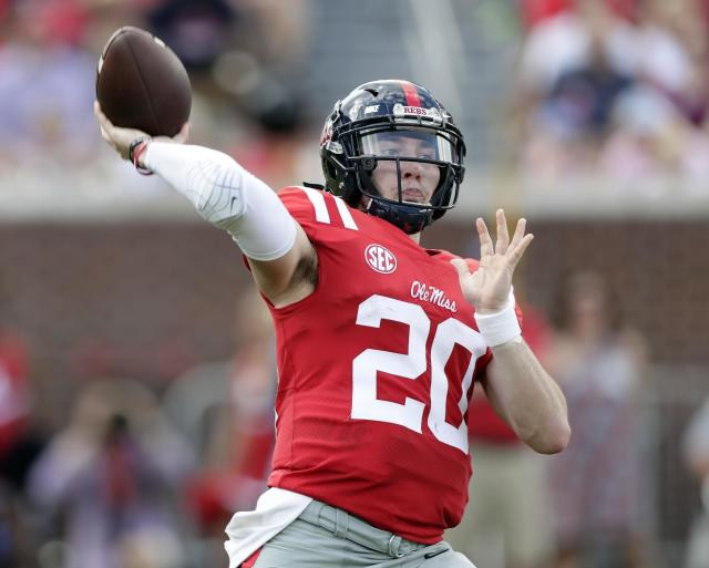 "<a class=""link rapid-noclick-resp"" href=""/ncaaf/players/263176/"" data-ylk=""slk:Shea Patterson"">Shea Patterson</a> threw for 3,139 yards and 23 touchdowns in 10 starts at Ole Miss. He transferred to Michigan in December. (AP Photo/Rogelio V. Solis, File)"