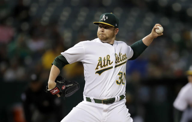 FILE - In this Sept. 17, 2019, file photo, Oakland Athletics pitcher Brett Anderson works against the Kansas City Royals during the first inning of a baseball game in Oakland, Calif. Left-hander Anderson is the latest addition to the quickly transforming Milwaukee Brewers, agreeing Friday, Dec. 13, 2019, to a $5 million, one-year contract. (AP Photo/Ben Margot, File)