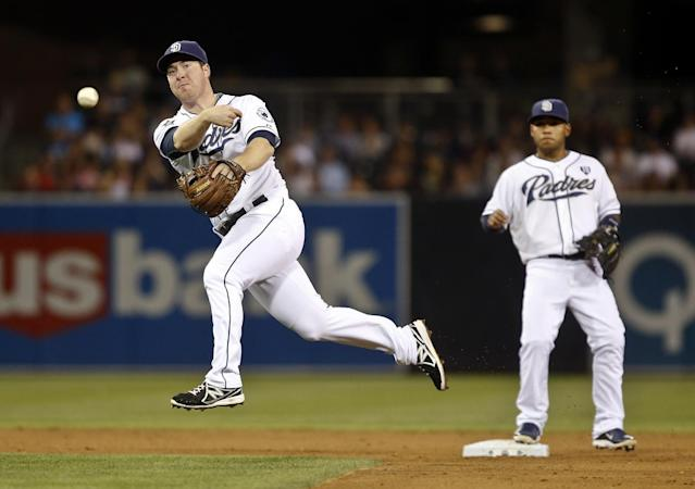 San Diego Padres second baseman Jedd Gyorko throws out Colorado Rockies' Josh Rutledge after fielding a slow roller in the sixth inning of a baseball game Tuesday, Aug. 12, 2014, in San Diego. (AP Photo/Lenny Ignelzi)