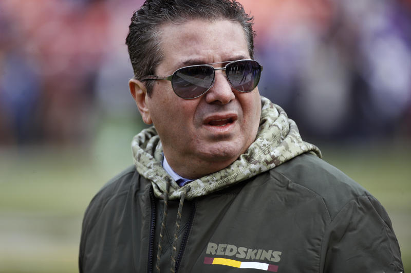 Daniel Snyder accuses an India-based media company of accepting payment to make false links between him and Jeffrey Epstein. (AP Photo/Patrick Semansky, File)