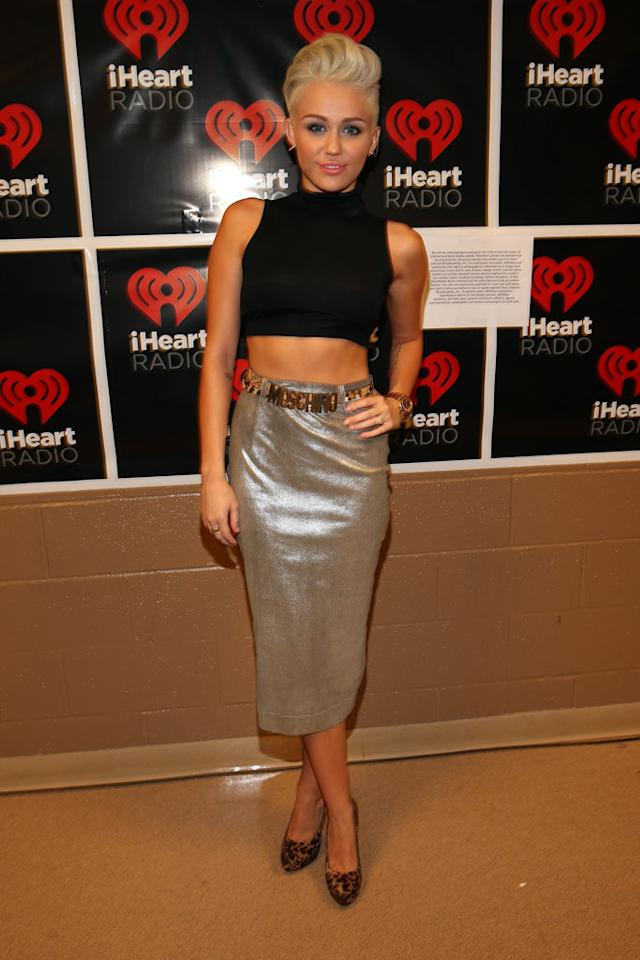 LAS VEGAS, NV - SEPTEMBER 21:  Singer Miley Cyrus poses backstage during the 2012 iHeartRadio Music Festival at the MGM Grand Garden Arena on September 21, 2012 in Las Vegas, Nevada.  (Photo by Christopher Polk/Getty Images for Clear Channel)